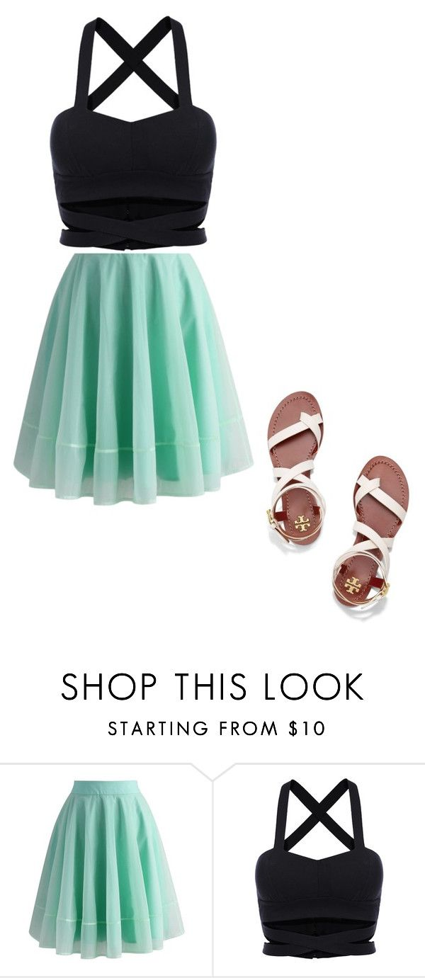 """summer"" by xoitssyd ❤ liked on Polyvore featuring Chicwish and Tory Burch"
