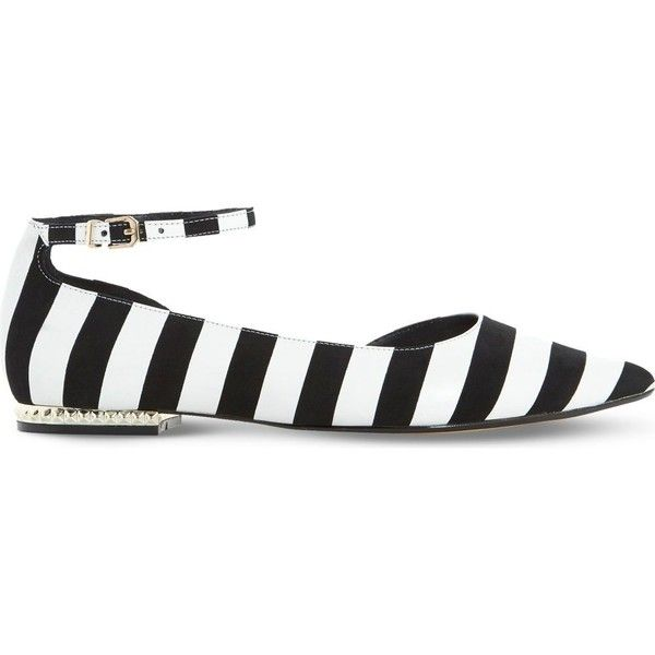 Dune Hustle striped leather flats ($88) ❤ liked on Polyvore featuring shoes, flats, flat shoes, pointy-toe flats, dune shoes, leather shoes and pointed toe shoes