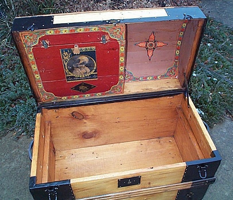 Restored Antique Steamer Trunks For Sale Victorian Era All Wood Leather And Pressed Tin Dome Top Flat Top Antique Steamer Trunk Antique Trunk Trunk Redo