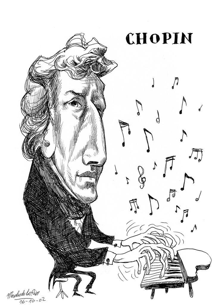Frederic Chopin - | Sanatçılar, Müzisyenler, Karikatür