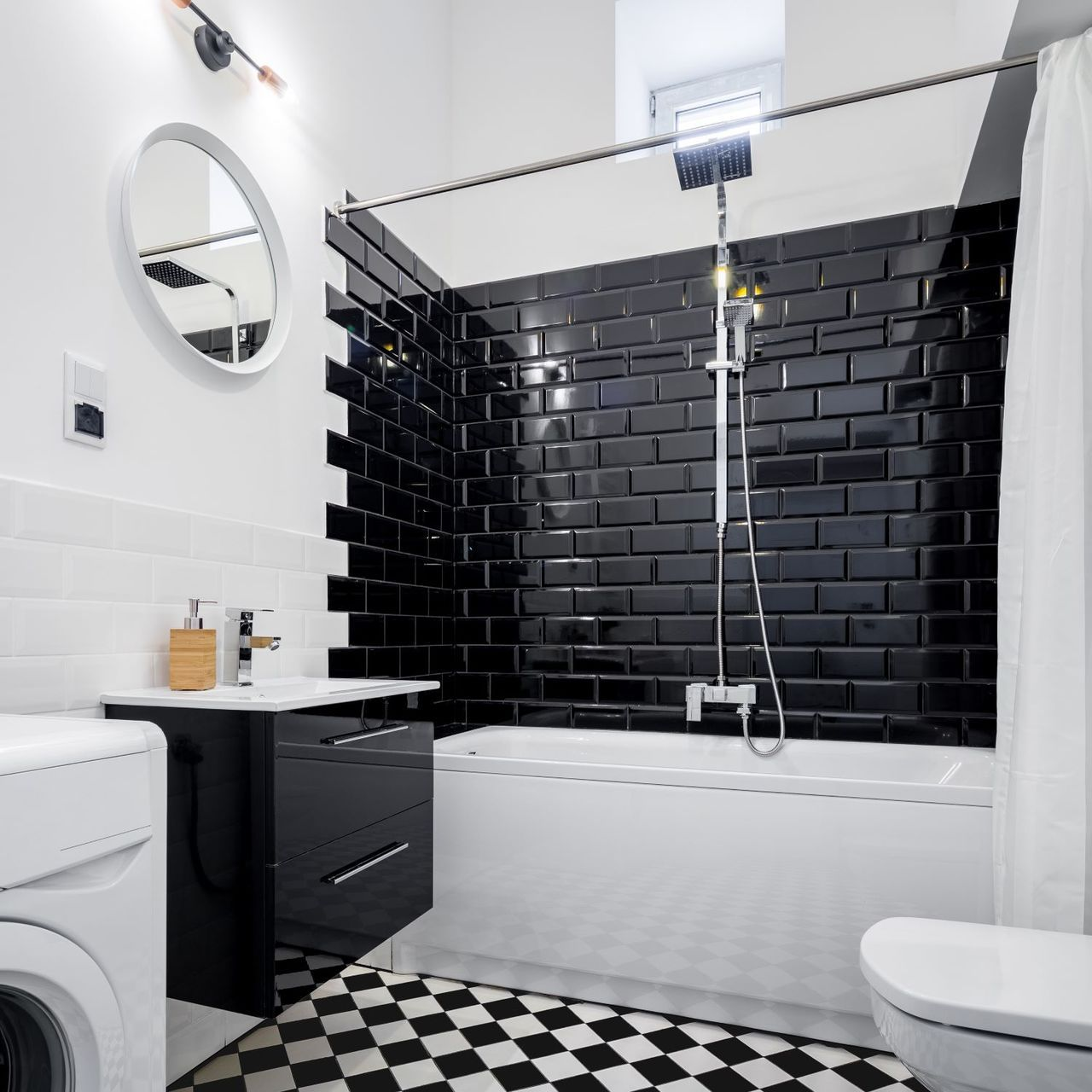 Beveled Subway Tile 3x6 Black 3 49 Sq Ft Black Tile Bathrooms Beveled Subway Tile Bathroom Design