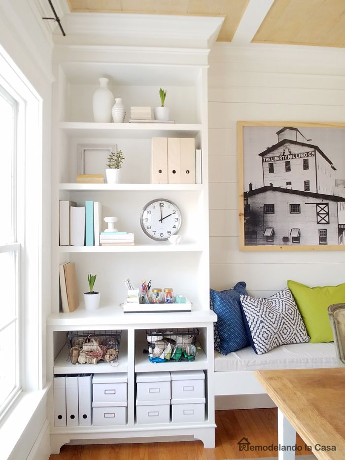 Ikea Home Office Library Ideas: Ikea Storage Boxes, Big Clock And Wire Baskets On Built