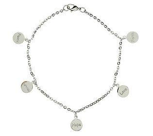 Steel by Design Inspirational Charm Ankle Bracelet