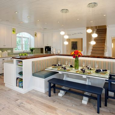 L shaped island bar on one side banquette on the other - Kitchen island with table attached ...