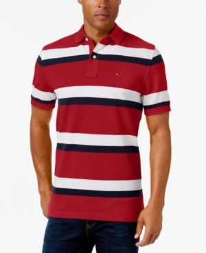 3ed06da1d93 Tommy Hilfiger Men's Ace Striped Polo - Red XS | Products | Tommy ...