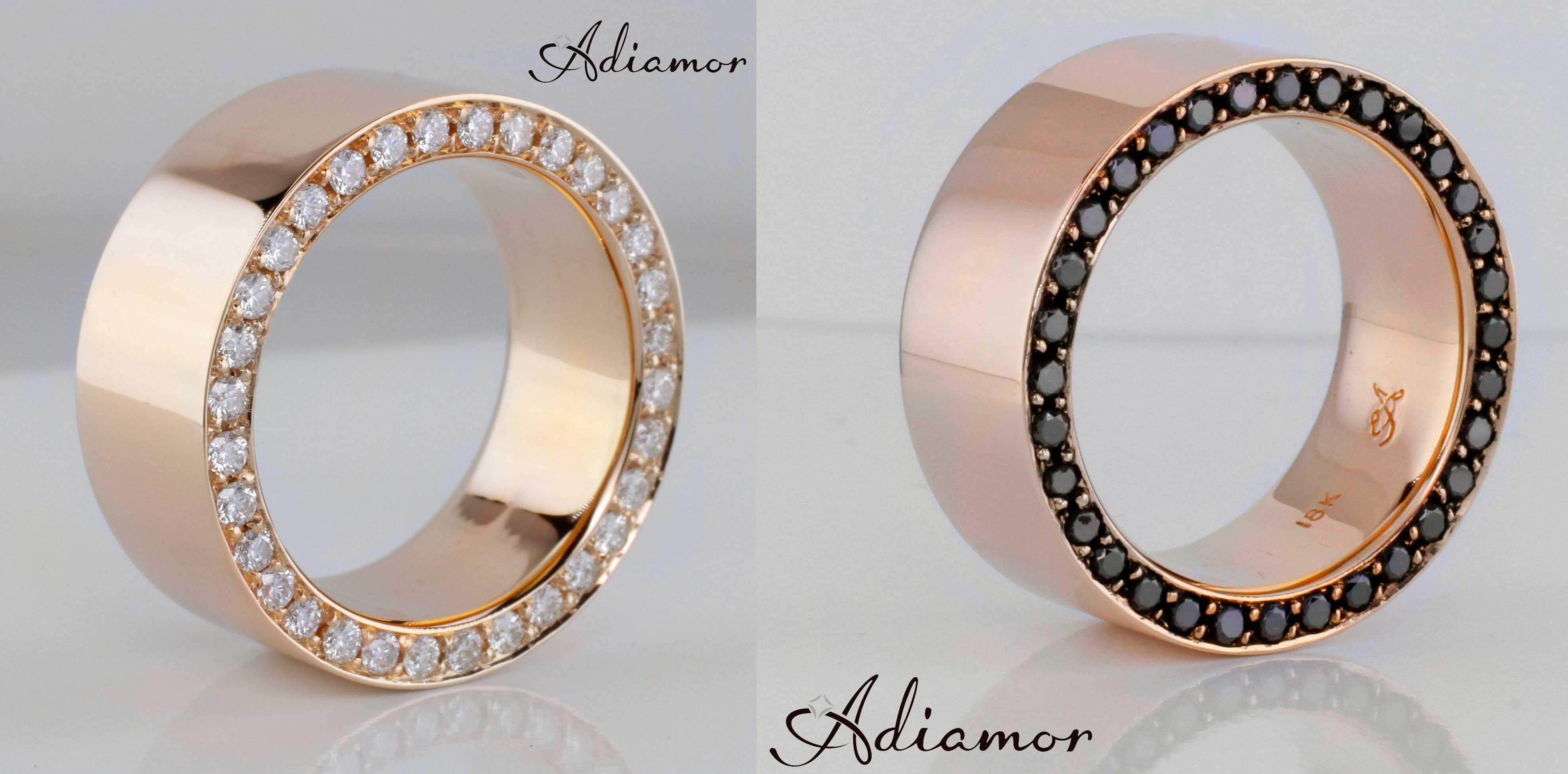 Adiamor's custom made rose gold men's bands with white or