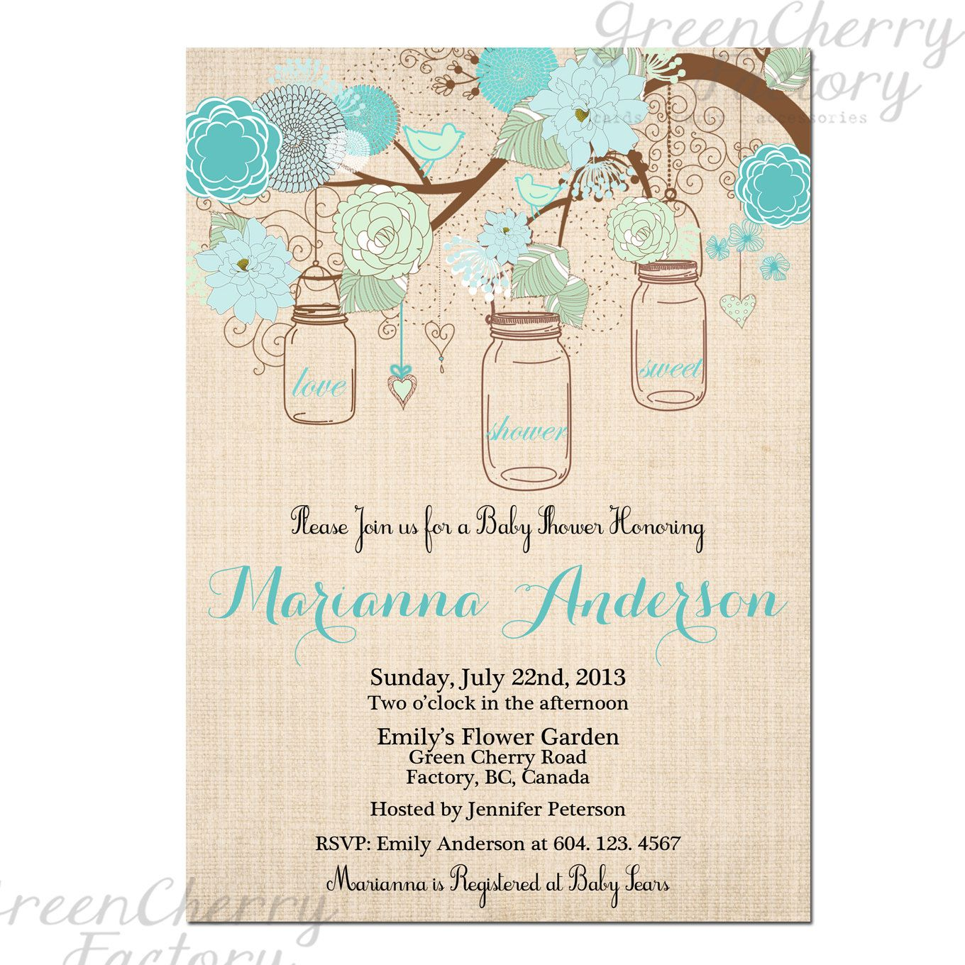 Vintage Mason Jar Bridal Shower Invitation 30th 40th Any Age – Garden Party Baby Shower Invitations