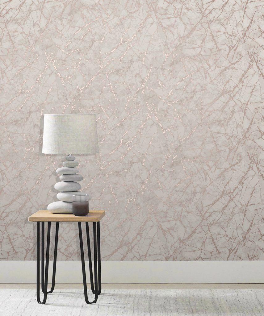 Fine Decor Wallpaper Metallic Marble Blush/Rose Gold