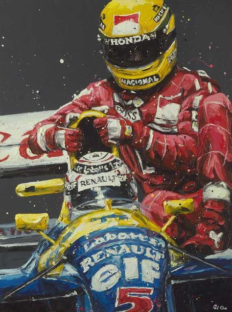 Nigel Mansell gives his rival Ayrton Senna lift back to the pits after Senna's car ran out of petrol on the last lap of the British Grand Prix at Silverstone 1991.