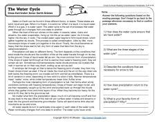Water Cycle - Reading Worksheets Spelling Grammar Comprehension Lesson Plans