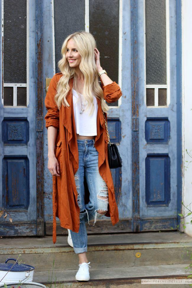Burnt Orange Trench Coat Zara Top Hu0026M Concious Jeans Garage Clothing Shoes Tamaris Bag ...