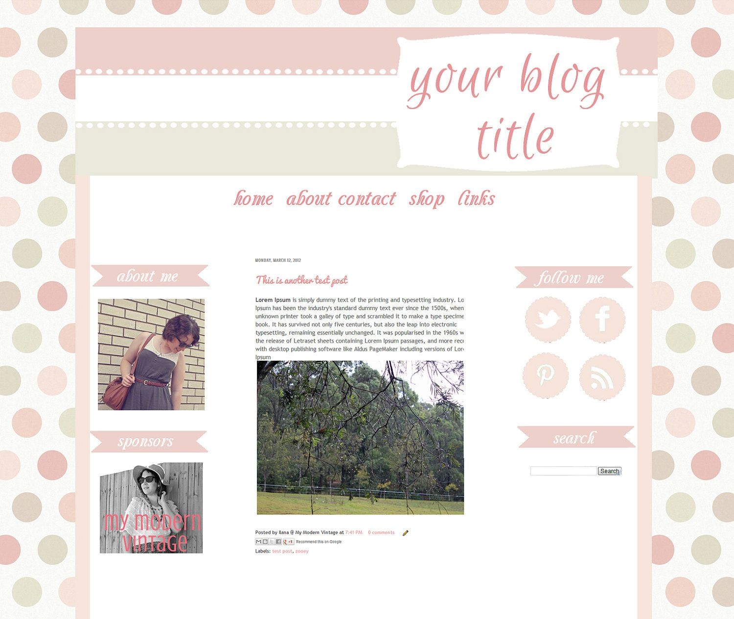 Lots of Dots- Premade Blog Template for Blogger- 3 Column -Graphic ...