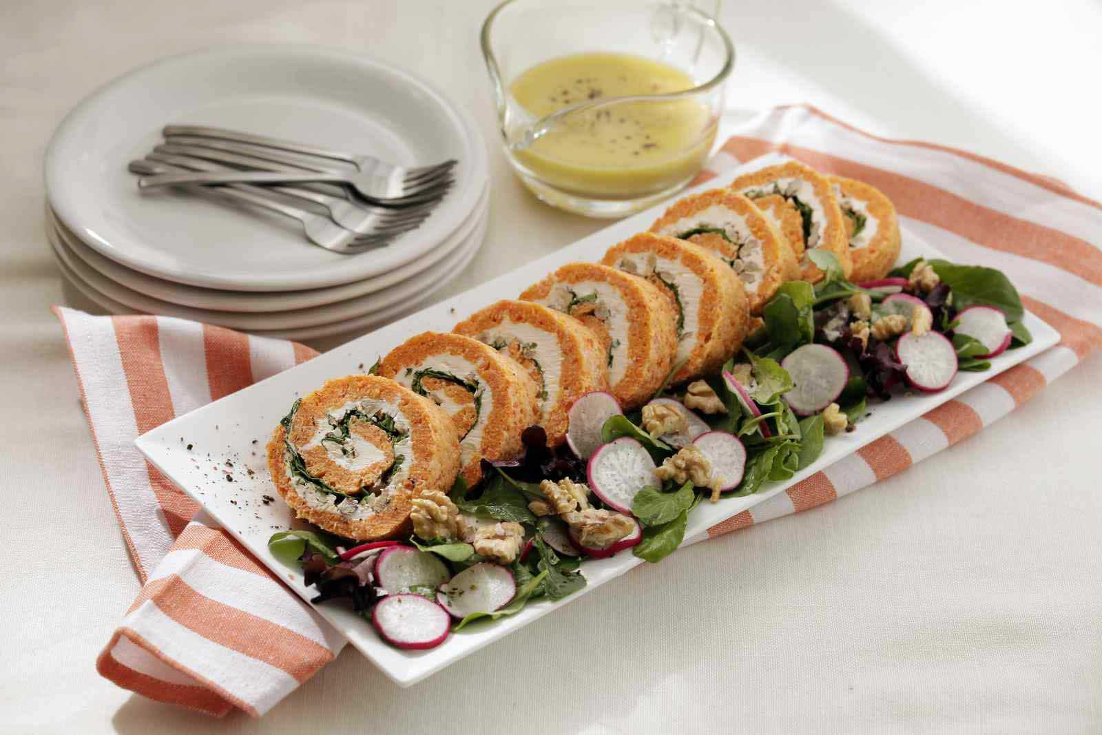 Receta Rollo de pimentón, queso y verduras