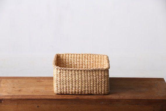 Water Hyacinth basket #Thai Handmade #100% Natural Wicker