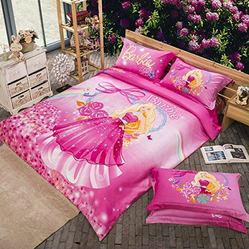 Maketop Beautiful Barbie Pink Flower Kids Girls Bedding Set Full