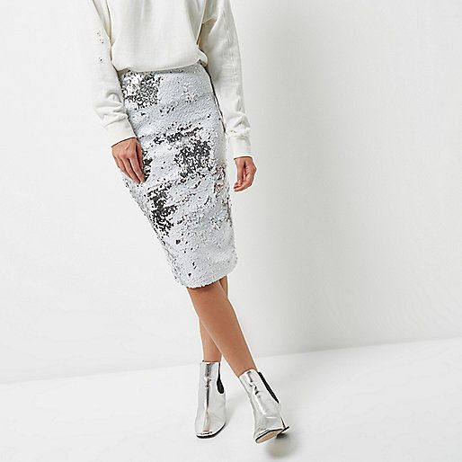7aa4304a65 White sequin pencil skirt - midi skirts - skirts - women | clothes ...