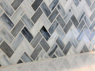 Blue Gray Chevron Glass Mosaic Backsplash Kitchen Pinterest