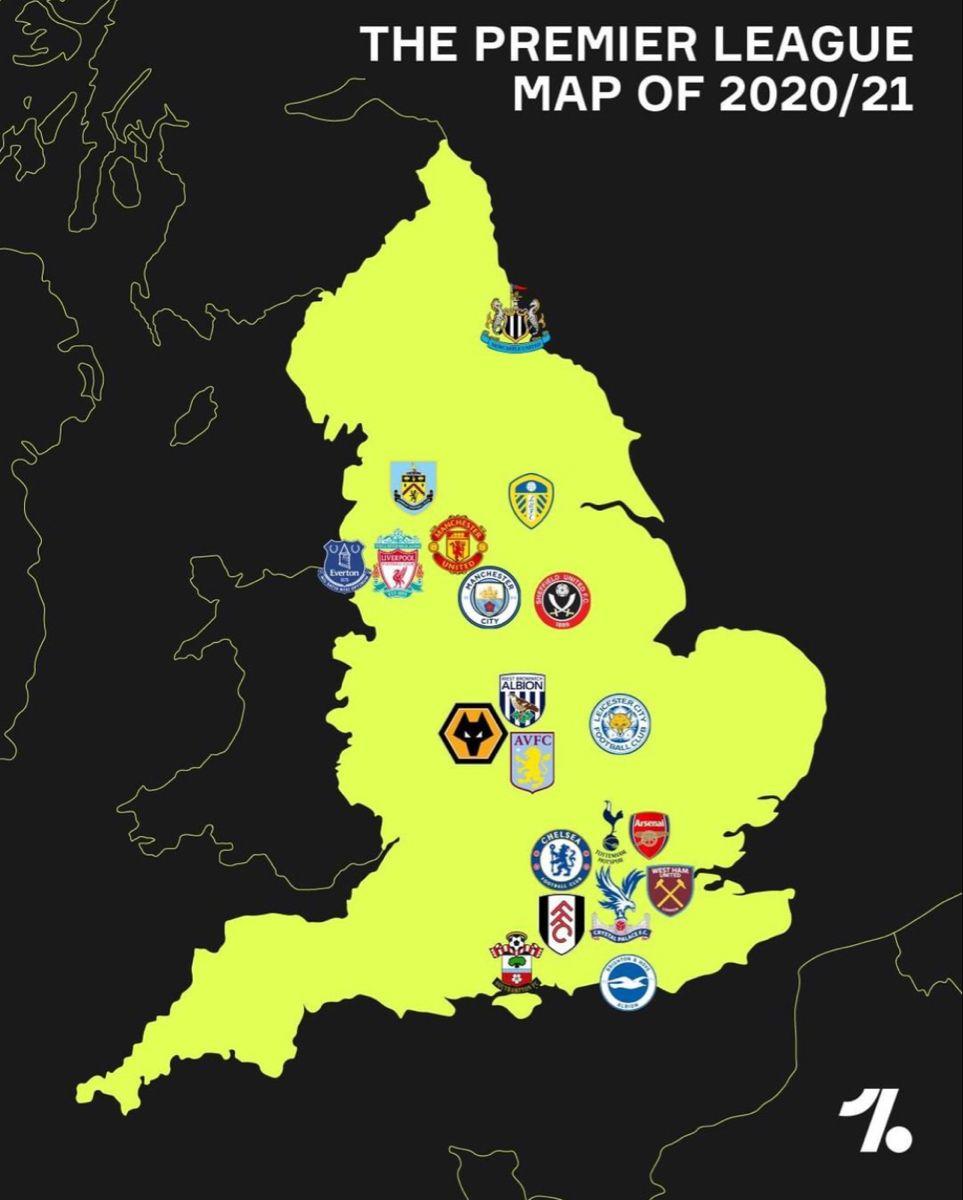 Map Of Premier League 2020 Premier League League Football