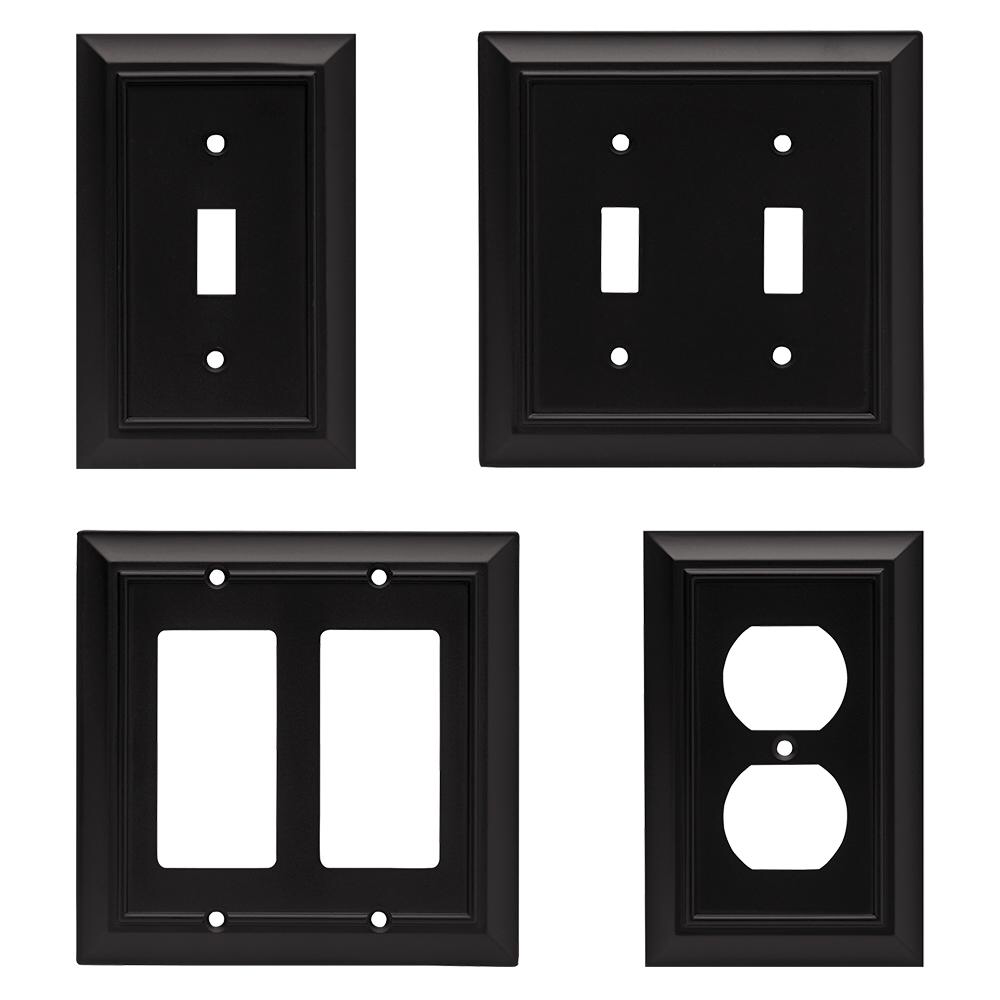 Liberty Black 1 Gang Duplex Outlet Wall Plate 1 Pack 64218 The Home Depot Plates On Wall Outlet Covers Wall Outlets