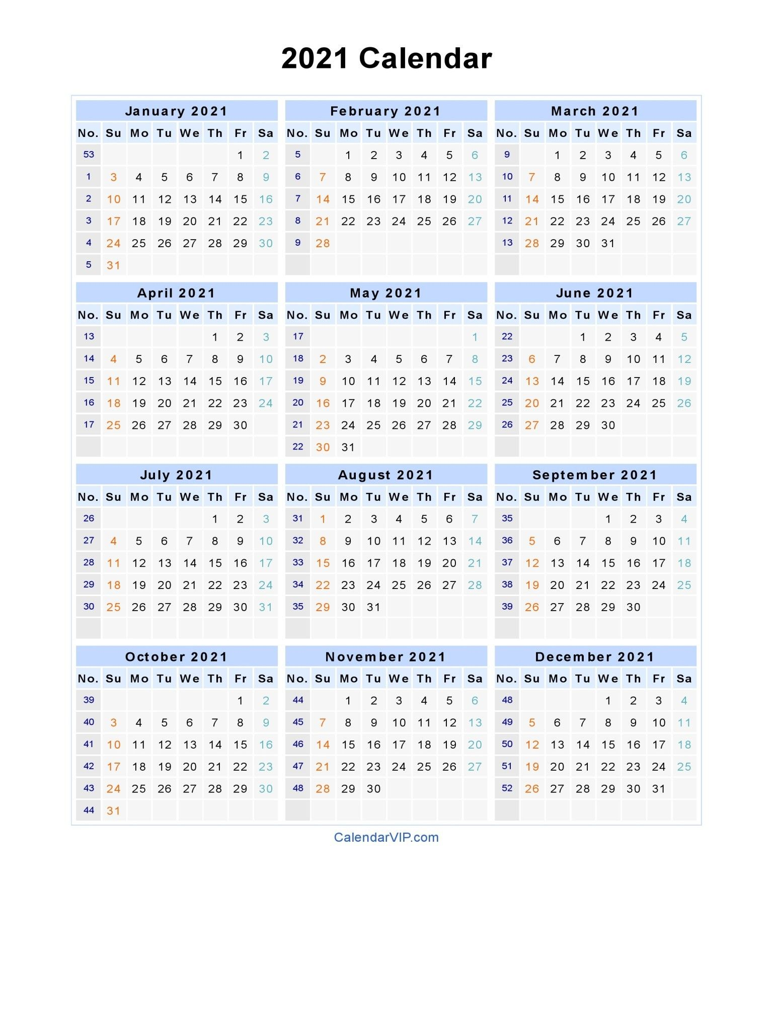 2021 Calendar With Week Numbers Excel Full In 2020 Printable