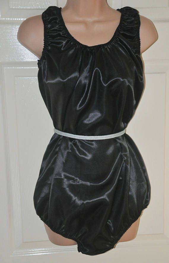 Soft satin all-in-one teddy, black silky soft lounging wear, Sissy Lingerie, SSX 6