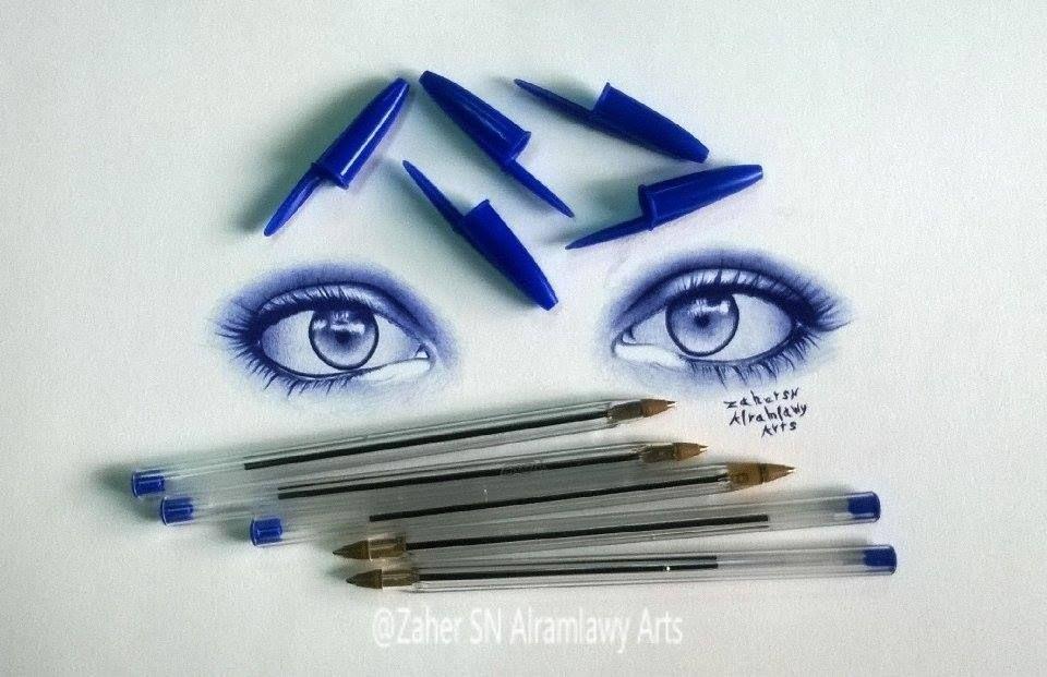 رسم عيون بقلم جاف أتمنى تعجبكم زاهر الرملاوي طفرة جوز Art Pen