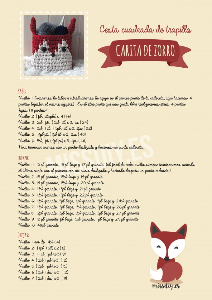 Cesta de trapillo con cara de zorro – Foxy Basket | Crochet ...