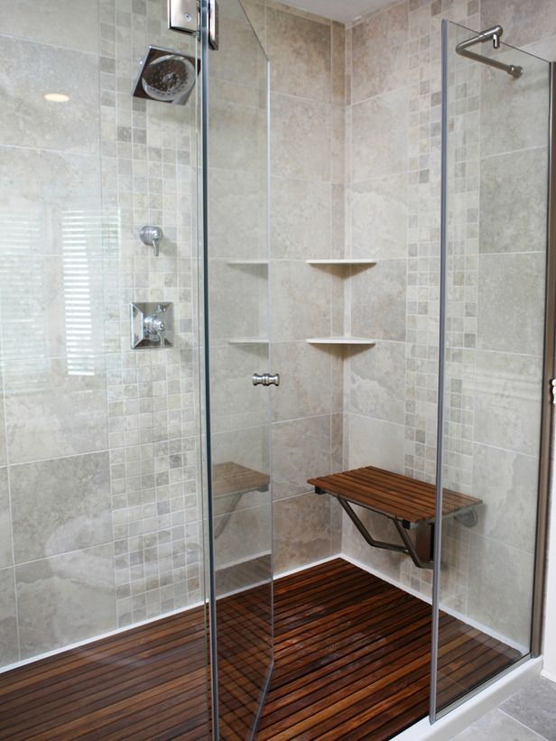 Amazing Tubs and Showers Seen On Bath Crashers : Home_improvement : DIY# - Teak Wood Shower Floor Surrounded By River Rock, Walls Tiles In