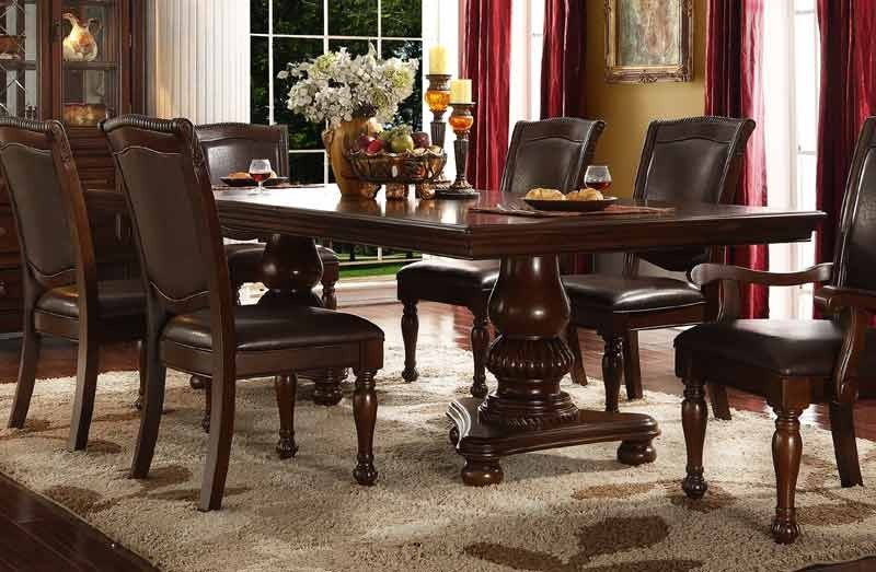 Mcferran Home Furnishings D7900 Double Pedestal Dining Table In