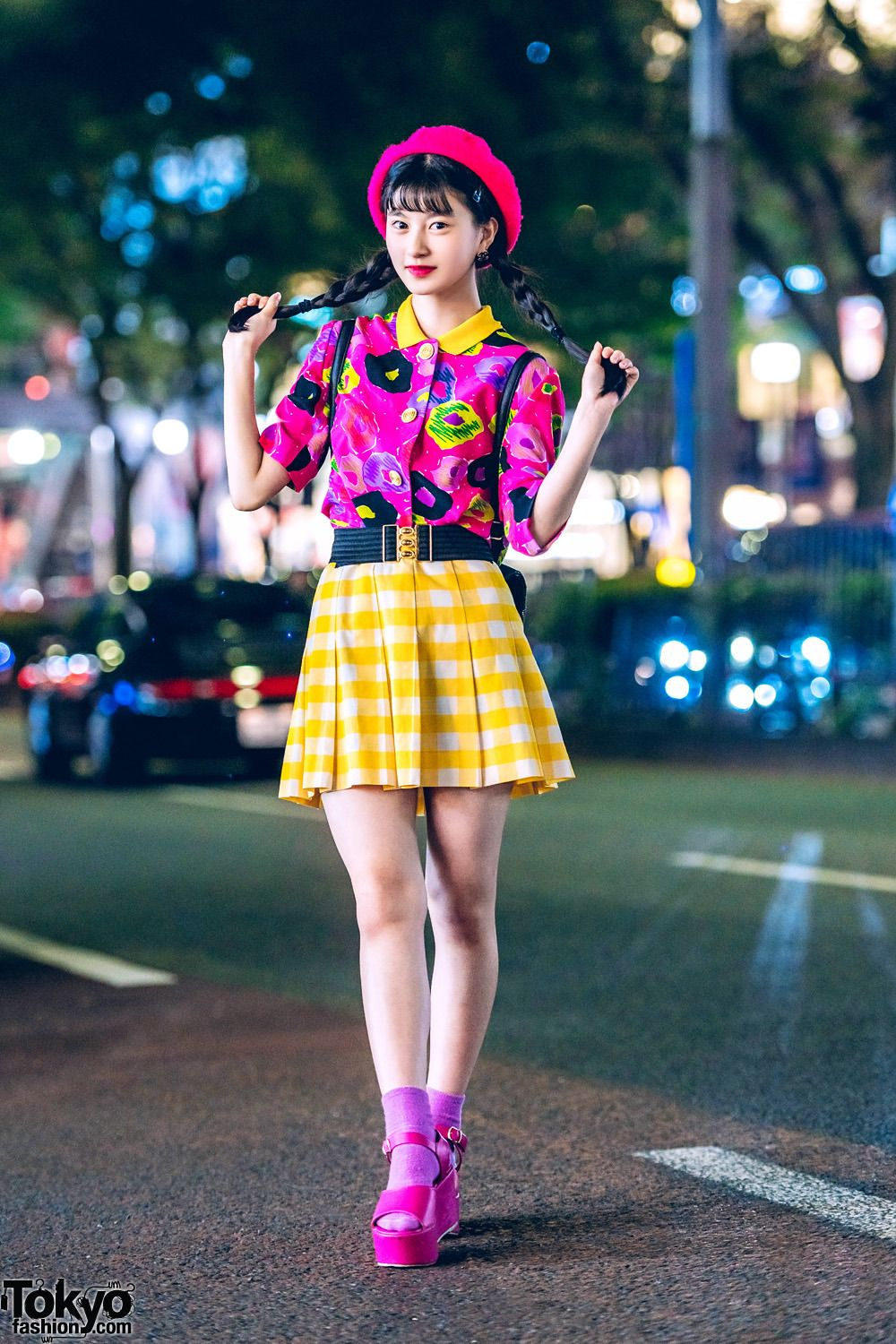 4fab527f0 14-year-old Japanese model and aspiring actress A-pon on the street in  Harajuku wearing a cheerful look that features a vintage print top with a  vintage ...