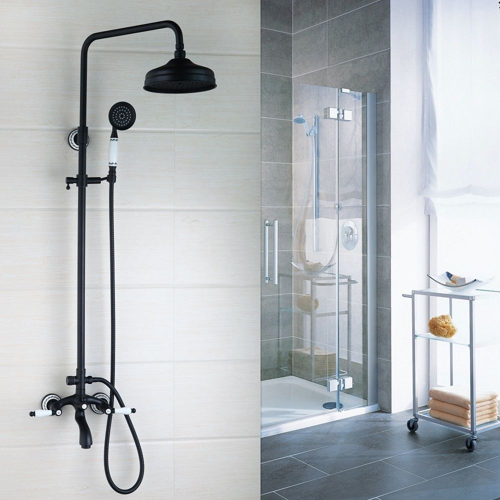 Details about Black Brass Exposed Wall Mounted Shower
