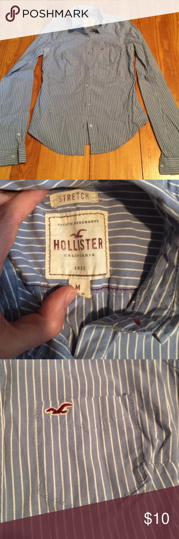 Hollister Striped, stretchy button-up This shirt is blue and white striped- ultra soft and stretchy, and pretty wrinkle-resistant. Fits like a small. Hollister Tops Button Down Shirts