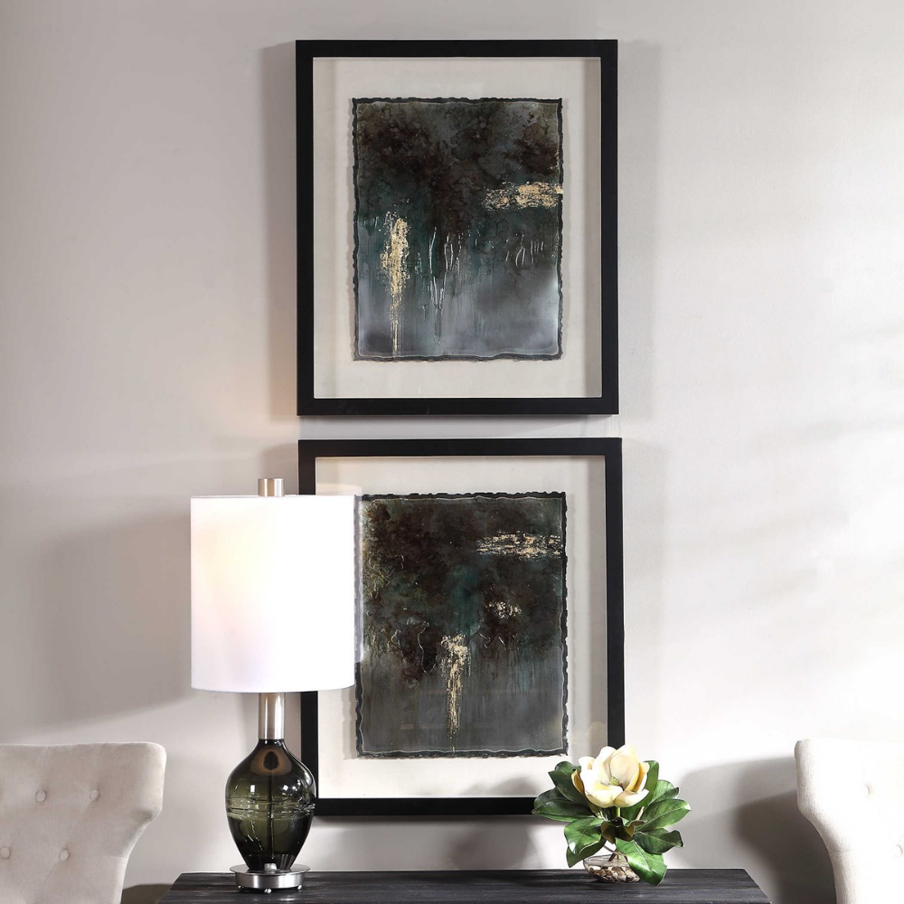 Rustic Patina Framed Prints S 2 Uttermost Framed Art Sets Wholesale Wall Art Green Wall Decor