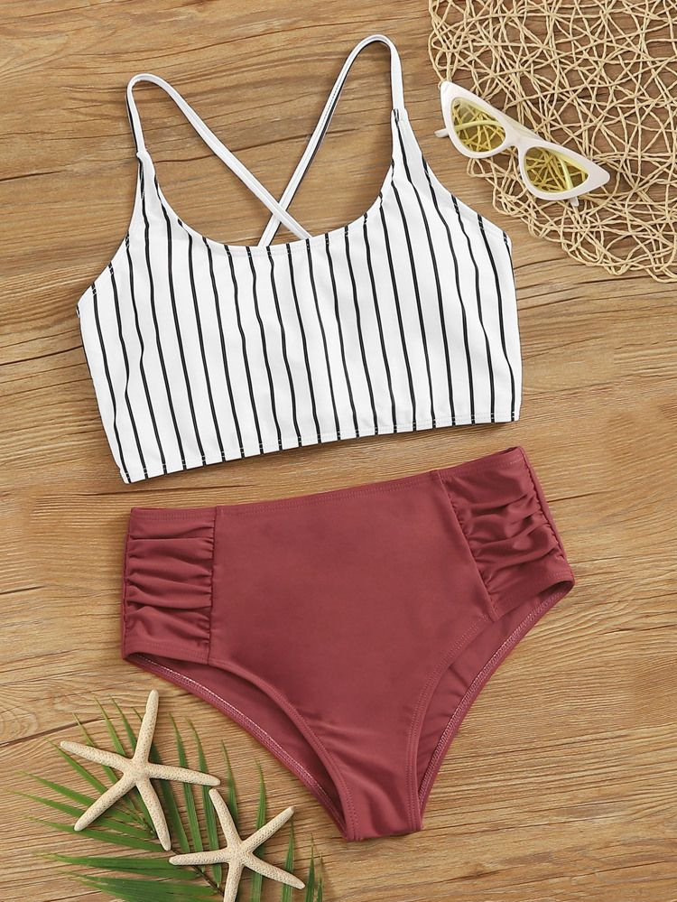 Striped Ruched High Waisted Tankini Swimsuit | ROMWE – Swimsuit
