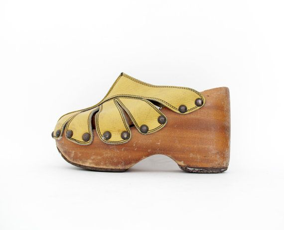 well known huge discount exclusive range Vintage clogs / 70s platforms / yellow butterfly clog by ...