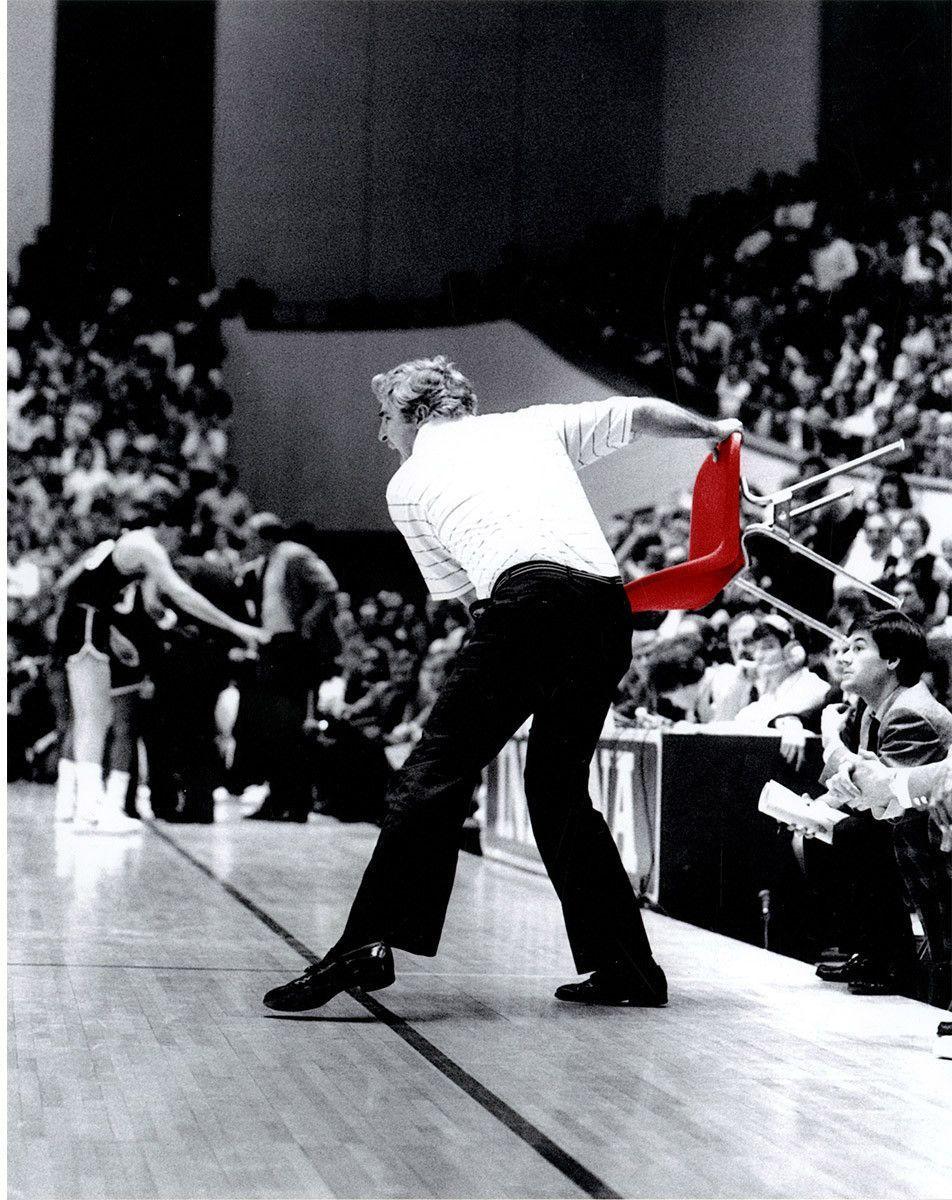 Bob Knight Throwing Chair B&W w/ Red Chair 8x10 Photo ...