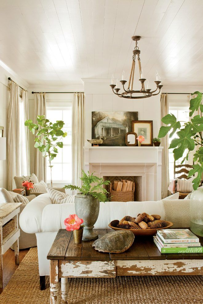 Southern living living room farmhouse with rustic table rustic table ...
