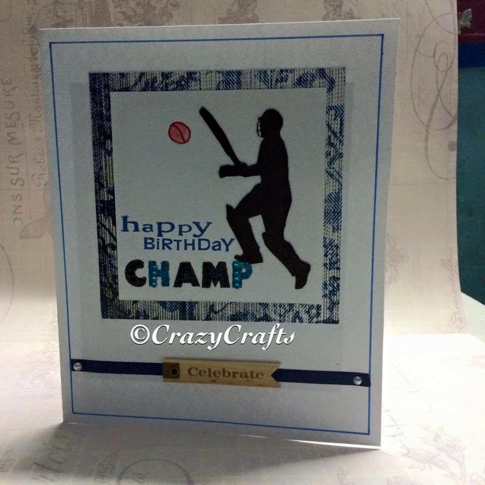 Handmade Card For Cricket Lover Cricket Cards Cards Handmade Cards Paper Crafts