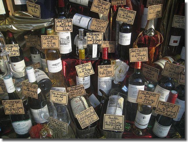 Wine for sale at a Parisian shop