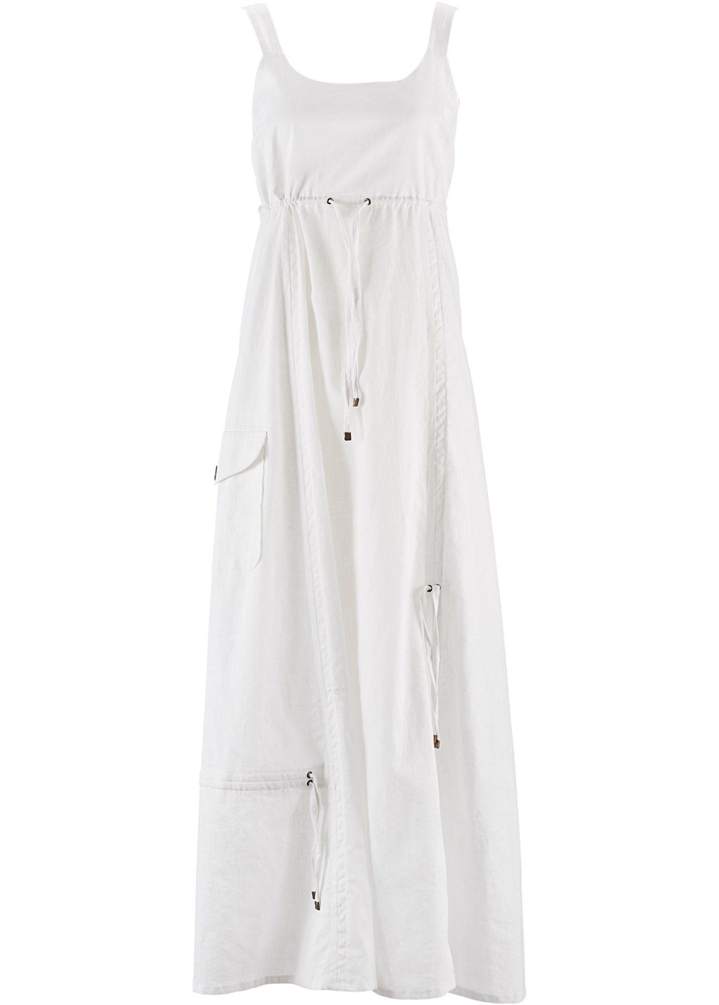 Keten Kumas Elbise Bpc Bonprix Collection Beyaz Giyim Yazlik Kiyafetler Ve The Dress