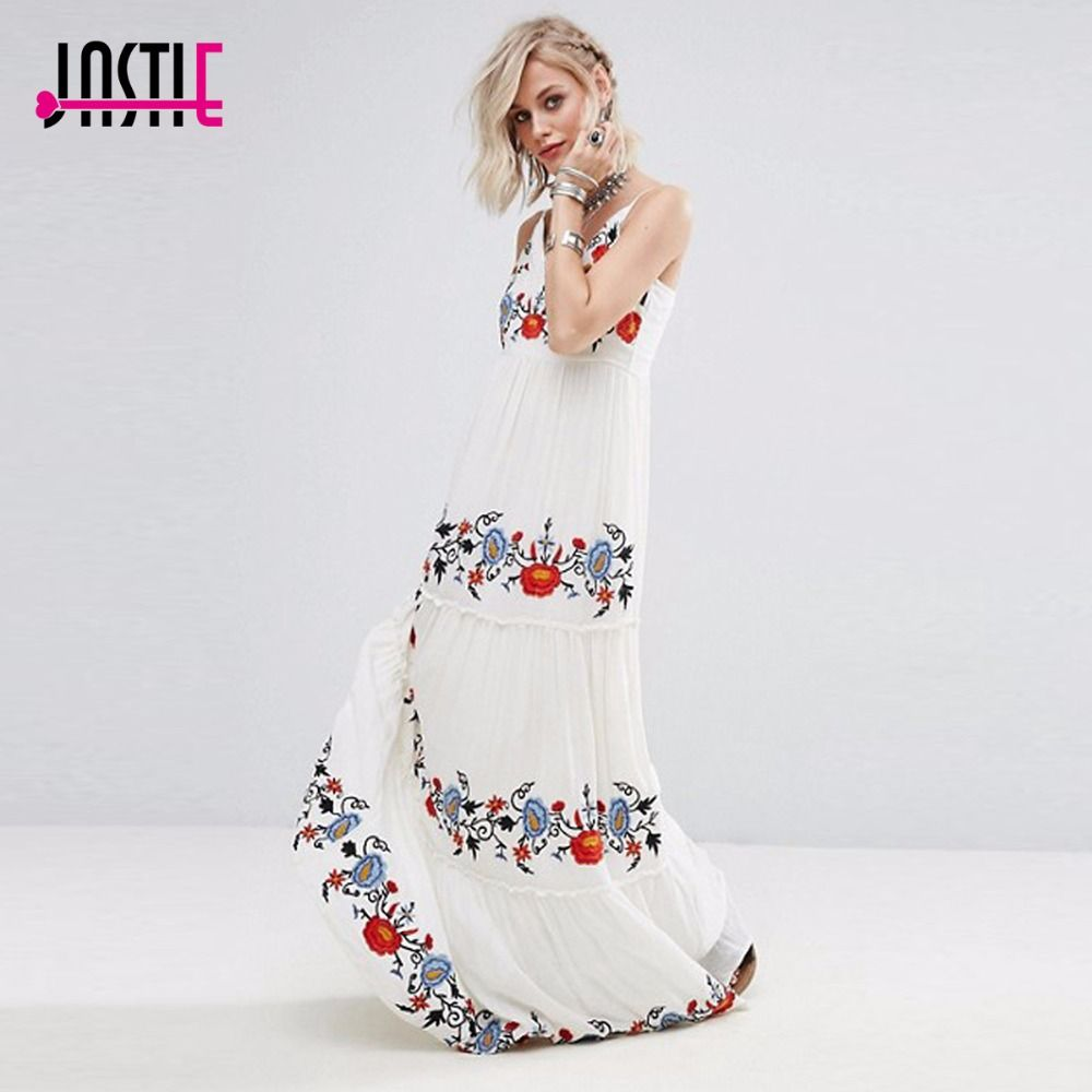 38cfb8586a095 Jastie White Dress Floral Embroidered Maxi Dress Elegant Party Dress ...