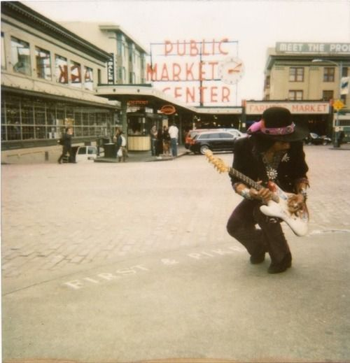 Jimi Hendrix in his hometown, beautiful Seattle, WA! (in front of Pike Place Market)