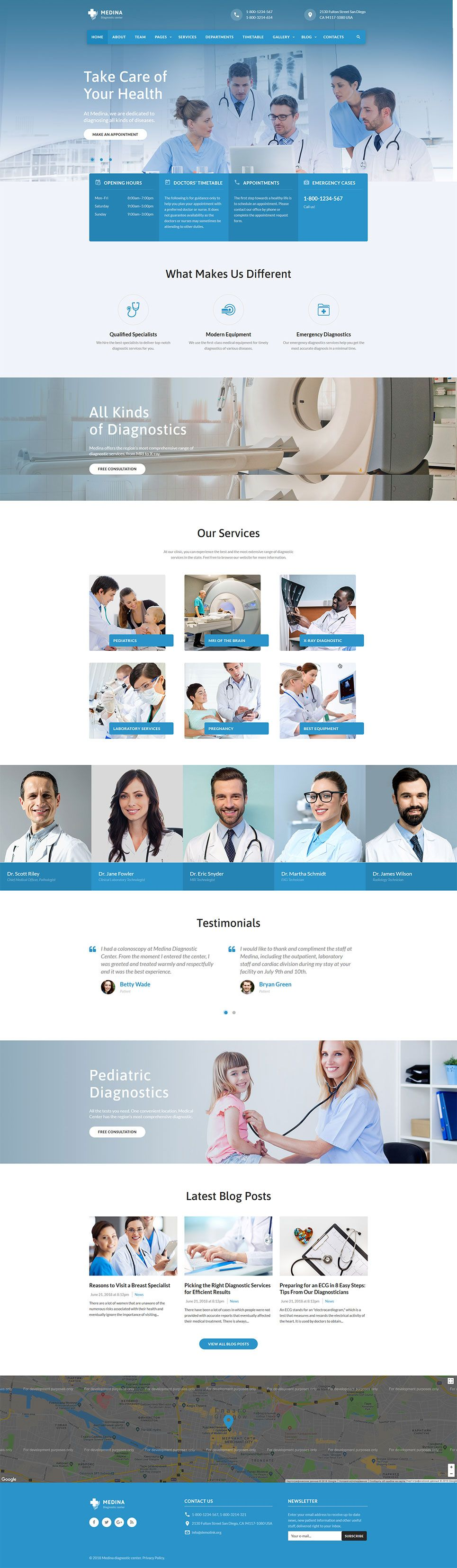 Medical diagnostic center website template for clinics