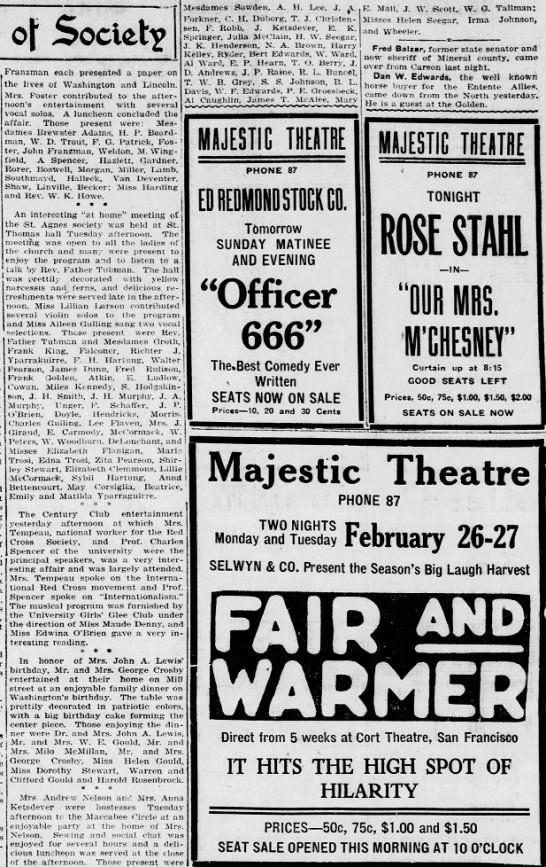 Reno Gazette-Journal, 24 Feb 1917, Sat, Other Editions Mary