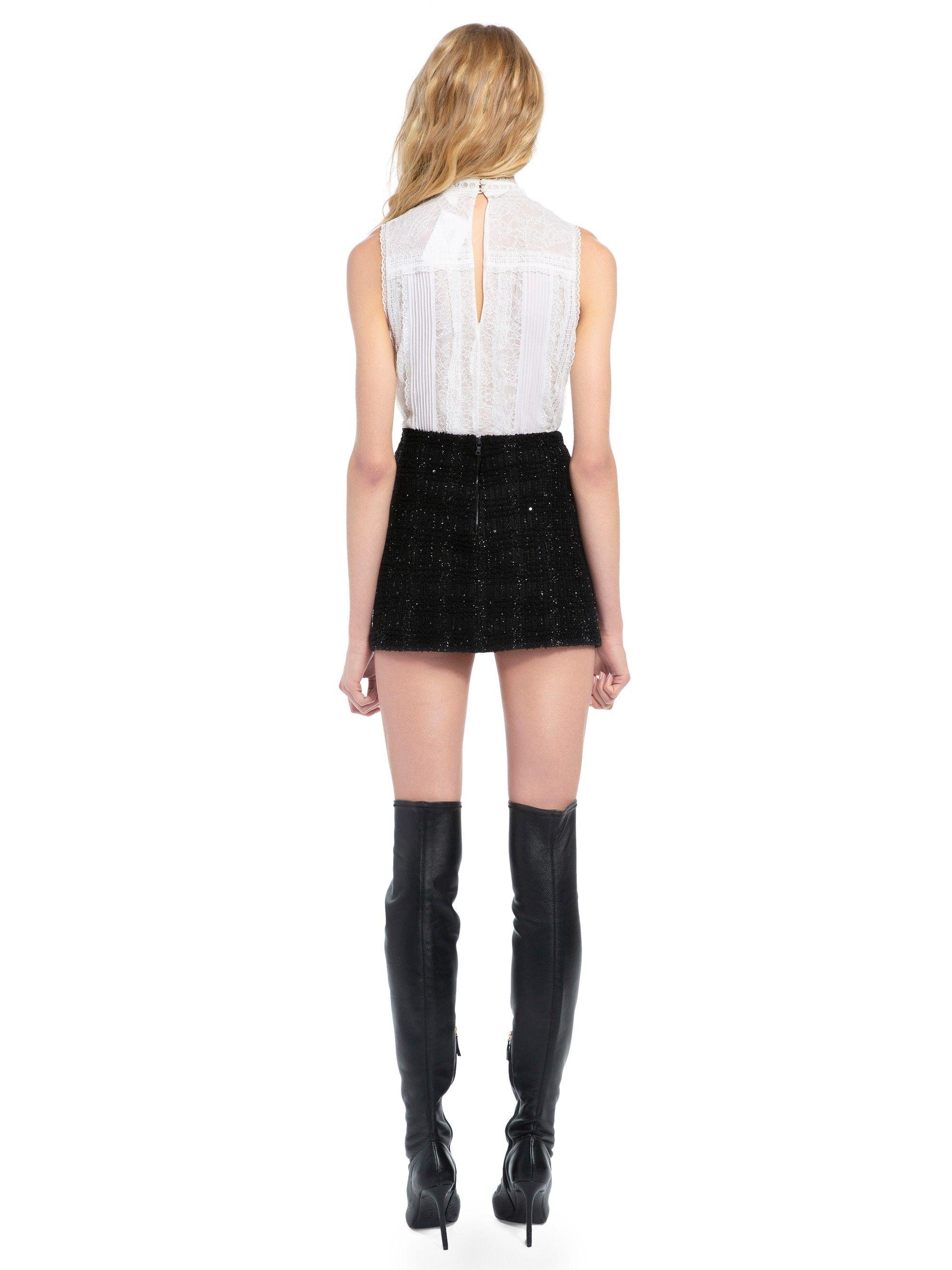 4ac5a19cfb80 Alice + Olivia Elana Metallic Knit Mini Skirt - Black 12