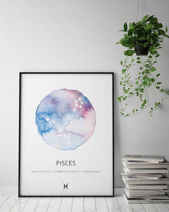 Piscis signo Arte Foto impresión Poster Regalo Zodiac Astrología