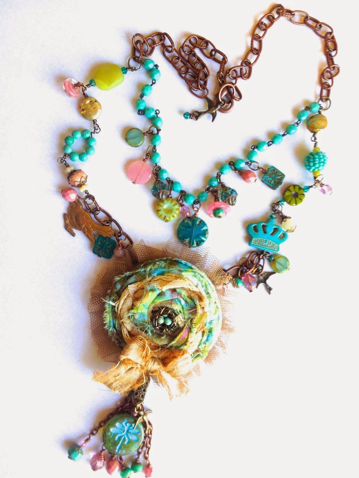 rag bird nest necklace