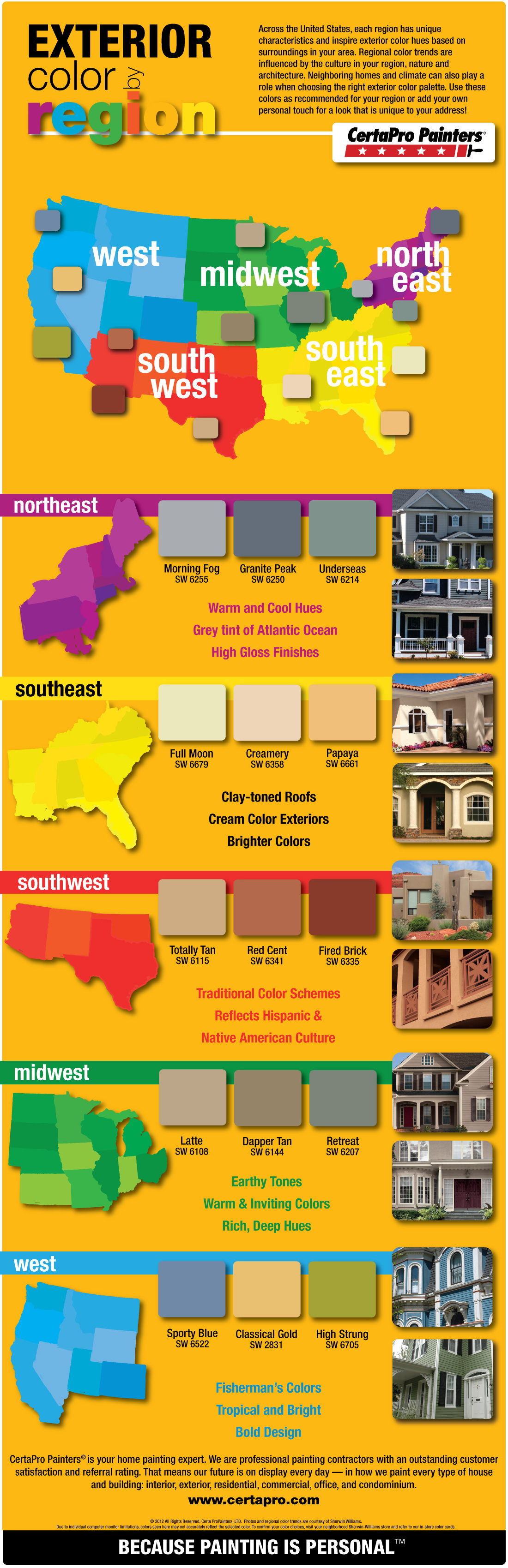 Exterior Color Trends By Region Infographic By Certapro Painters