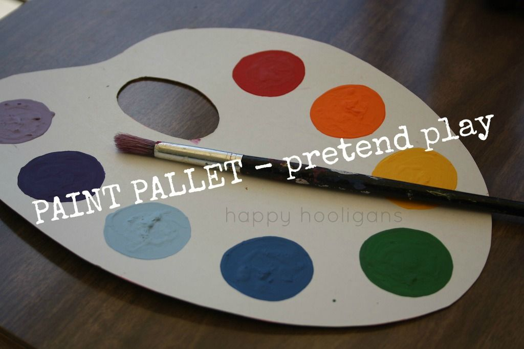Pretend Paint Palettes For Toddlers And Preschoolers Happy Hooligans Pallet Painting Dramatic Play Preschool Cardboard Painting