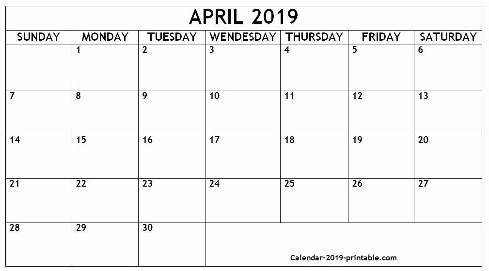 Editable April 2019 Calendar Landscape Printable Calendar
